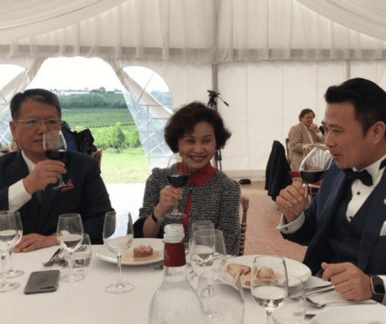 "Celebrating the ""Château Bel-Air"" Inauguration: Golden Fields President Mr Wei, his wife Mrs Wei & Chairman Lu Cheng-Chang"