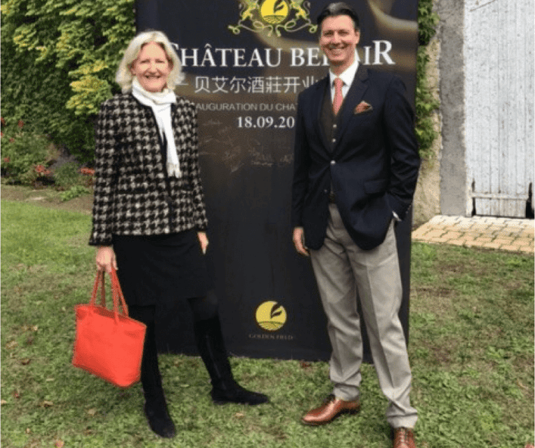 Karin Maxwell & Michael Baynes from Vineyards-Bordeaux at the Inauguration of Château Bel-Air