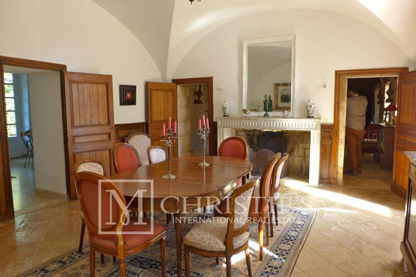 Dining room, Tile, Fireplace - Domaine with Organic Vineyard In AOC Cahors