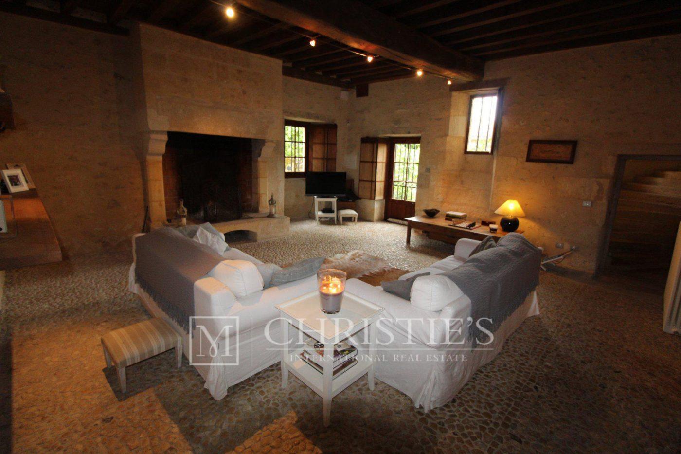 Salon, Moquette, Cheminée - Petit vignoble près de Saint-Emilion avec magnifique Château historique